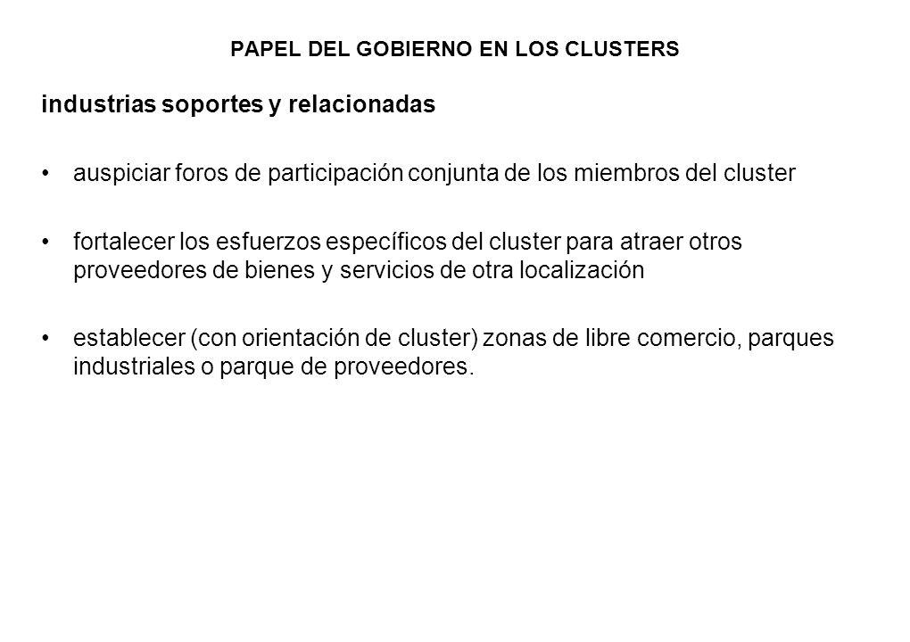 PAPEL DEL GOBIERNO EN LOS CLUSTERS industrias soportes y relacionadas auspiciar foros de participación conjunta de los miembros del cluster fortalecer