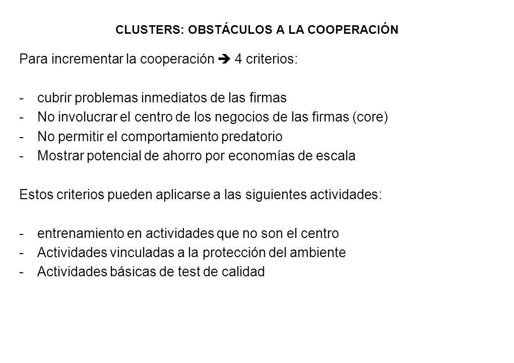 CLUSTERS: OBSTÁCULOS A LA COOPERACIÓN Para incrementar la cooperación 4 criterios: -cubrir problemas inmediatos de las firmas -No involucrar el centro