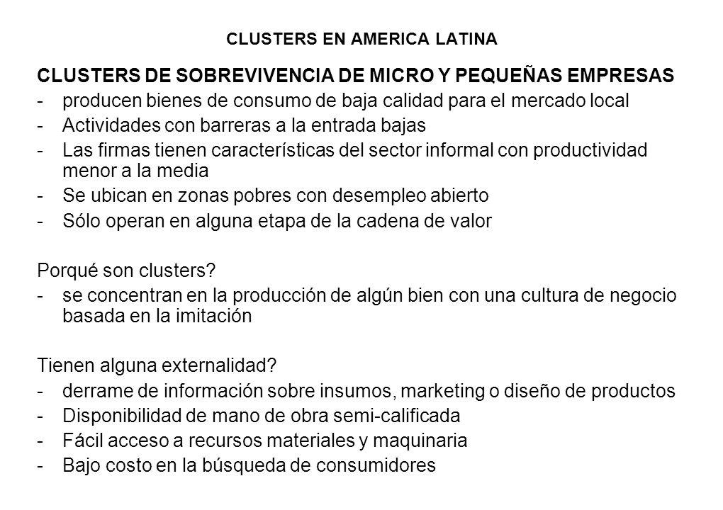 CLUSTERS EN AMERICA LATINA CLUSTERS DE SOBREVIVENCIA DE MICRO Y PEQUEÑAS EMPRESAS -producen bienes de consumo de baja calidad para el mercado local -A