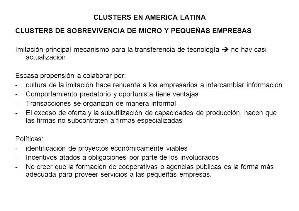 CLUSTERS EN AMERICA LATINA CLUSTERS DE SOBREVIVENCIA DE MICRO Y PEQUEÑAS EMPRESAS Imitación principal mecanismo para la transferencia de tecnología no