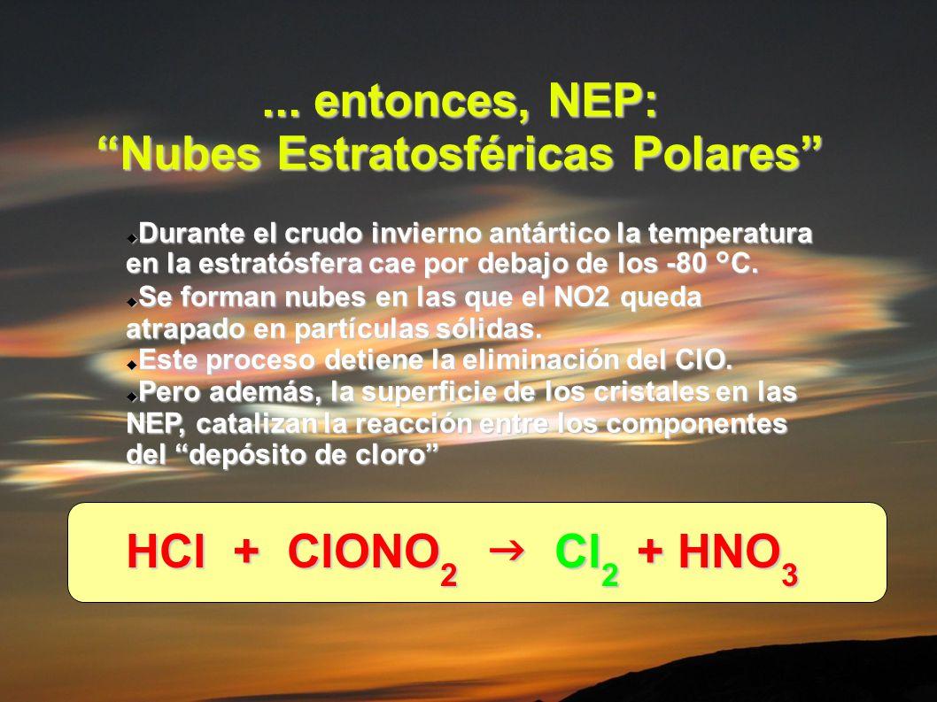 ... entonces, NEP: Nubes Estratosféricas Polares Durante el crudo invierno antártico la temperatura en la estratósfera cae por debajo de los -80 °C. D