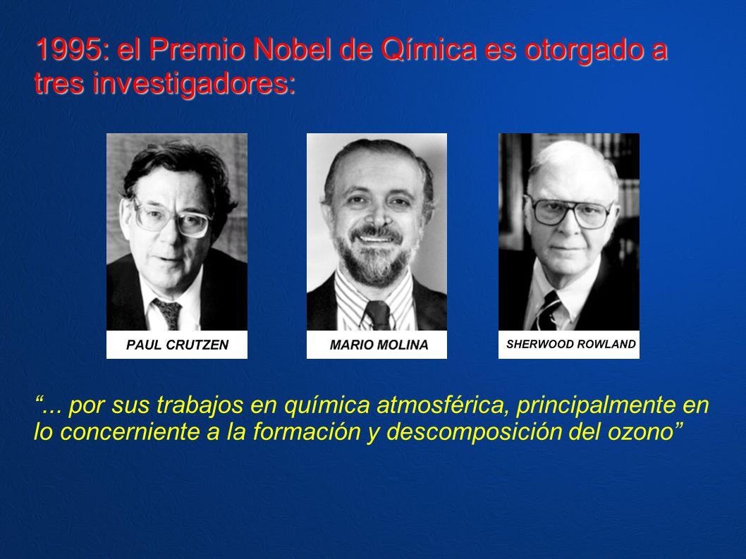 1995: el Premio Nobel de Qímica es otorgado a tres investigadores:... por sus trabajos en química atmosférica, principalmente en lo concerniente a la