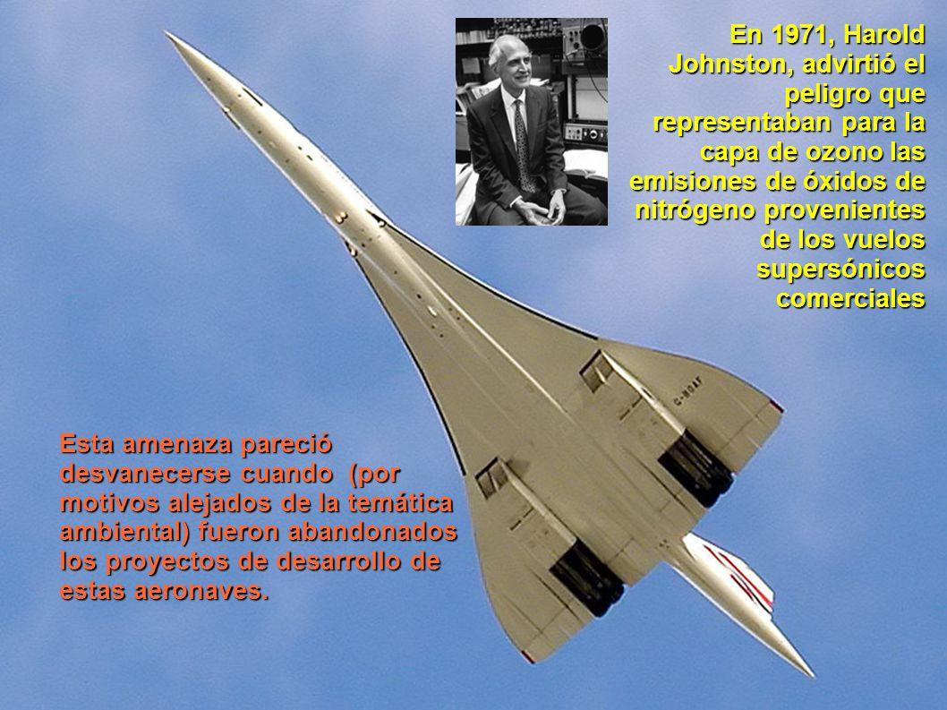 En 1971, Harold Johnston, advirtió el peligro que representaban para la capa de ozono las emisiones de óxidos de nitrógeno provenientes de los vuelos
