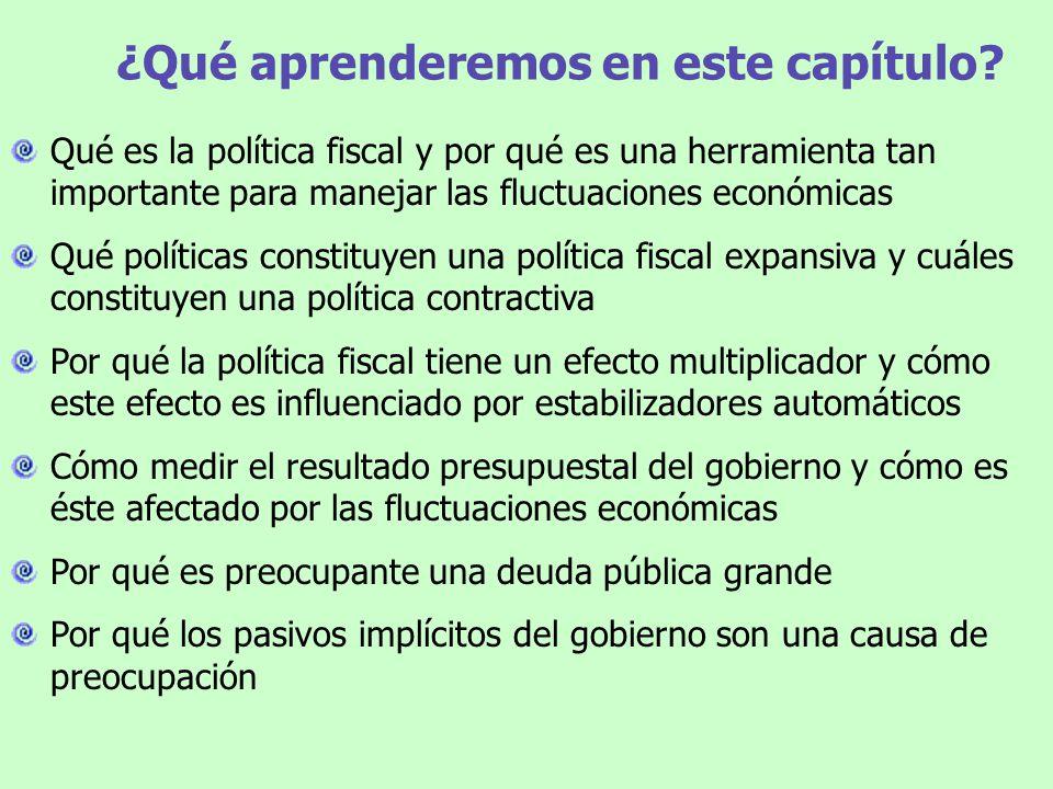 Política fiscal: las bases EEUU Japón Canadá Francia Suecia Gasto y recaudación impositiva del gobierno (% del PBI) Gasto público Rec.