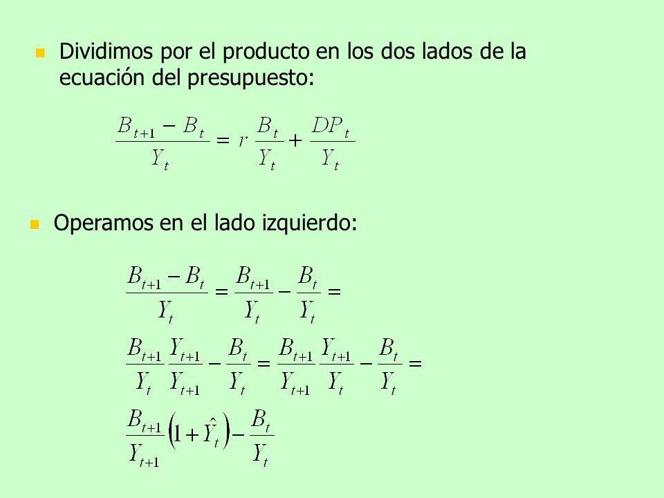 Dividimos por el producto en los dos lados de la ecuación del presupuesto: Operamos en el lado izquierdo: