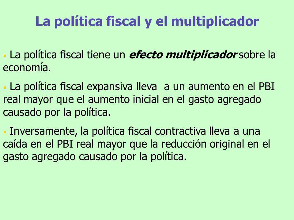 La política fiscal y el multiplicador La política fiscal tiene un efecto multiplicador sobre la economía. La política fiscal expansiva lleva a un aume