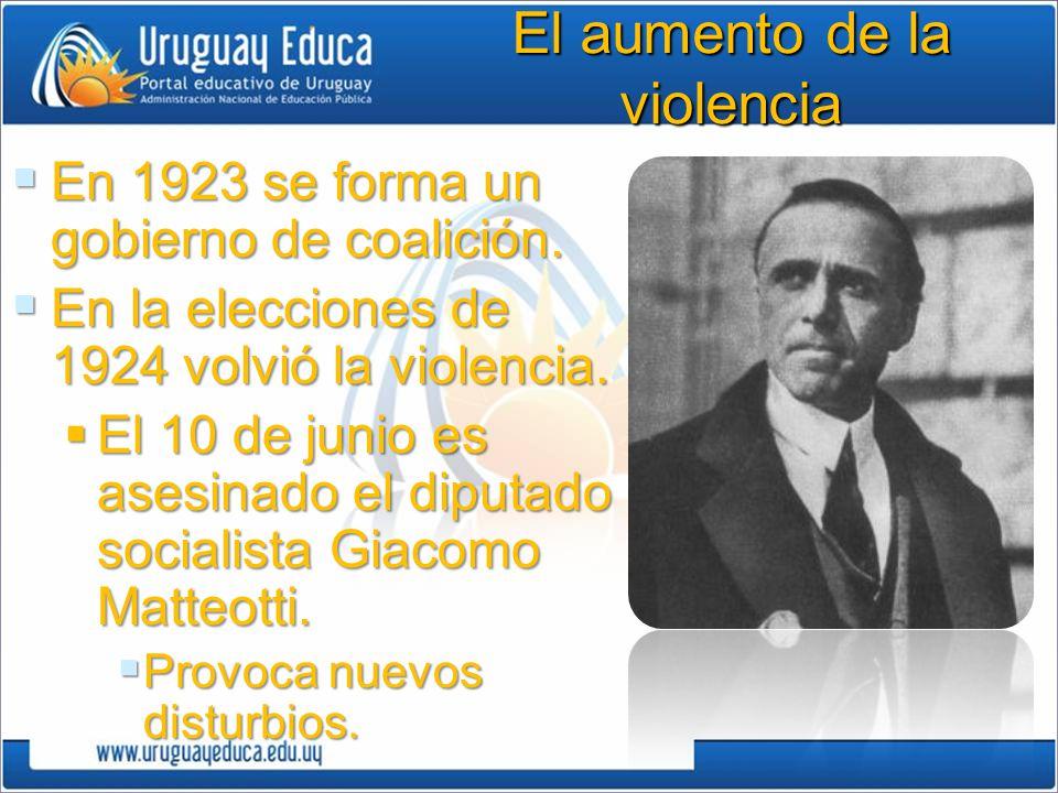 El aumento de la violencia En 1923 se forma un gobierno de coalición.