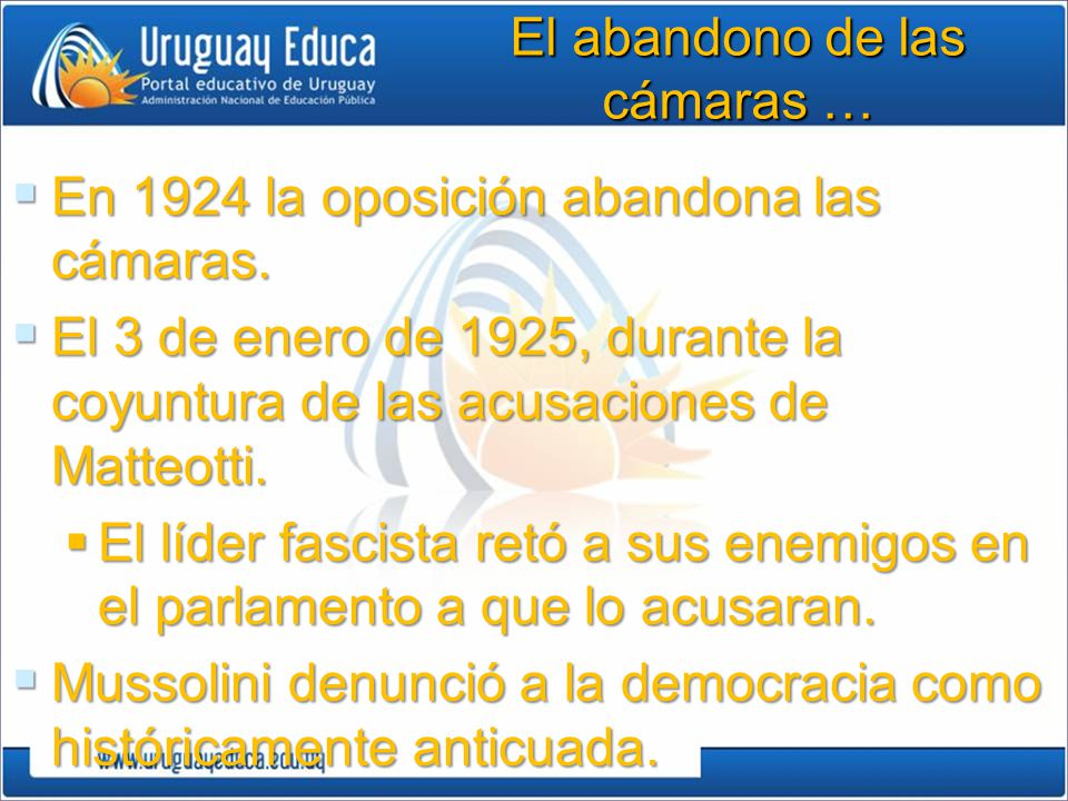 El abandono de las cámaras … En 1924 la oposición abandona las cámaras.