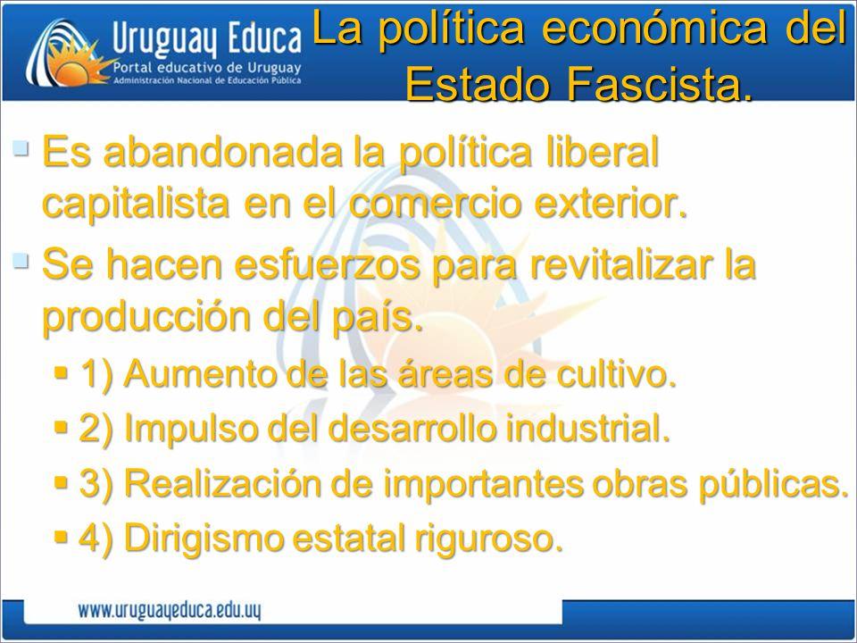 La política económica del Estado Fascista. Es abandonada la política liberal capitalista en el comercio exterior. Es abandonada la política liberal ca