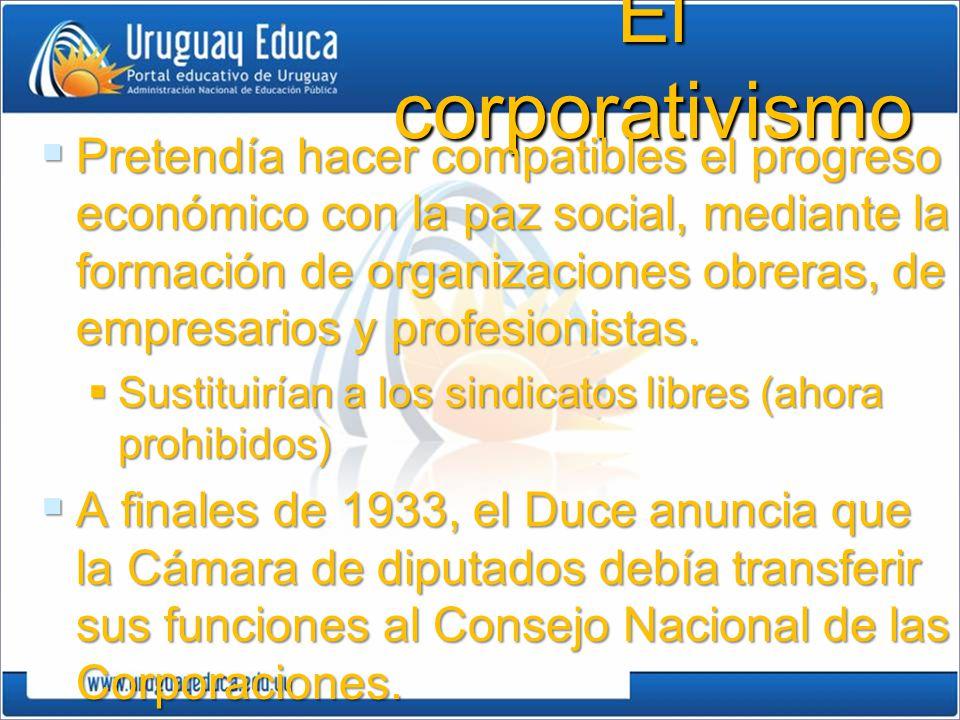 El corporativismo Pretendía hacer compatibles el progreso económico con la paz social, mediante la formación de organizaciones obreras, de empresarios