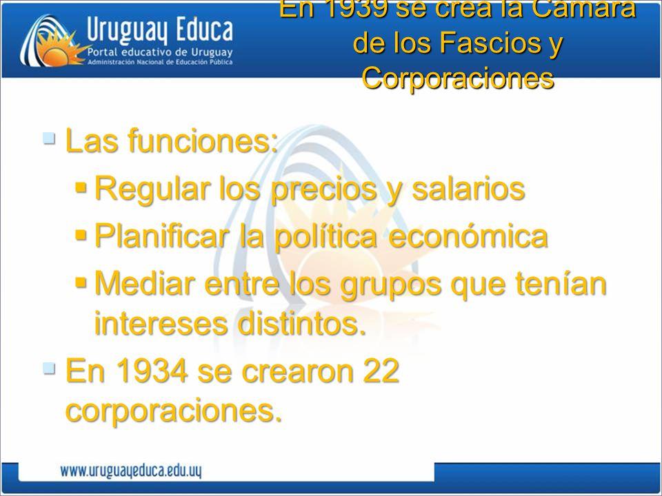 En 1939 se crea la Cámara de los Fascios y Corporaciones Las funciones: Las funciones: Regular los precios y salarios Regular los precios y salarios P