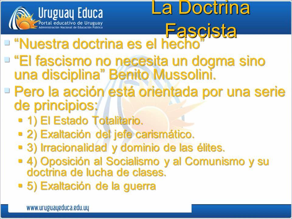 La Doctrina Fascista Nuestra doctrina es el hecho Nuestra doctrina es el hecho El fascismo no necesita un dogma sino una disciplina Benito Mussolini.