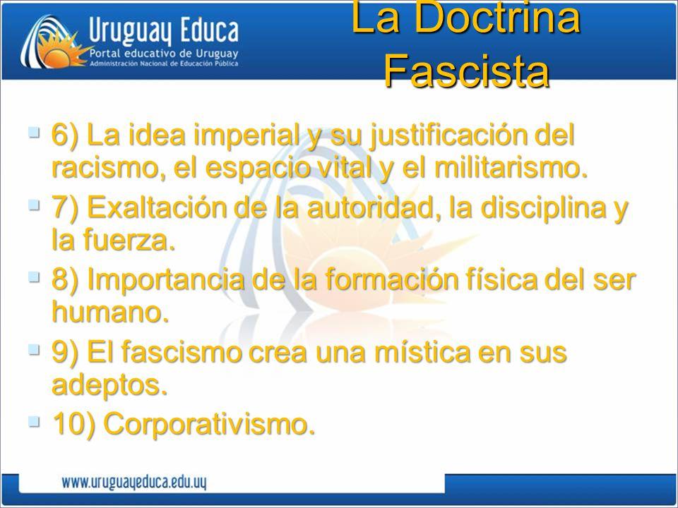 6) La idea imperial y su justificación del racismo, el espacio vital y el militarismo. 6) La idea imperial y su justificación del racismo, el espacio