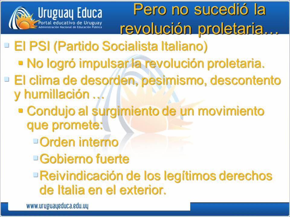 Pero no sucedió la revolución proletaria… El PSI (Partido Socialista Italiano) El PSI (Partido Socialista Italiano) No logró impulsar la revolución pr