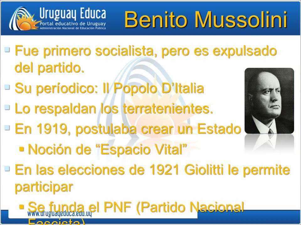 Benito Mussolini Fue primero socialista, pero es expulsado del partido. Fue primero socialista, pero es expulsado del partido. Su períodico: Il Popolo