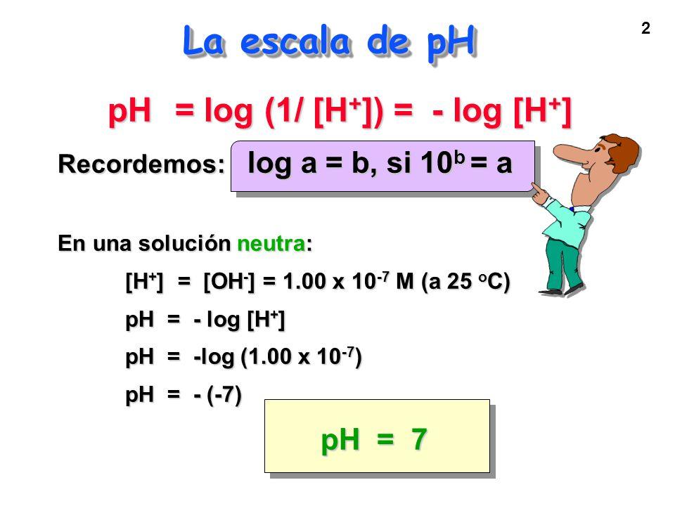 2 La escala de pH pH = log (1/ [H + ]) = - log [H + ] Recordemos: log a = b, si 10 b = a En una solución neutra: [H + ] = [OH - ] = 1.00 x 10 -7 M (a 25 o C) pH = - log [H + ] pH = -log (1.00 x 10 -7 ) pH = - (-7) pH = 7
