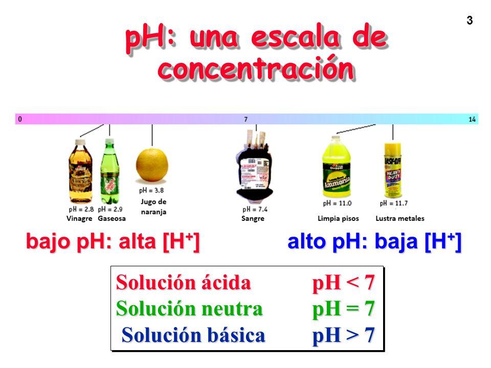 3 pH: una escala de concentración bajo pH: alta [H + ] alto pH: baja [H + ] Solución ácidapH < 7 Solución neutra pH = 7 Solución básicapH > 7 Solución básicapH > 7 Solución ácidapH < 7 Solución neutra pH = 7 Solución básicapH > 7 Solución básicapH > 7