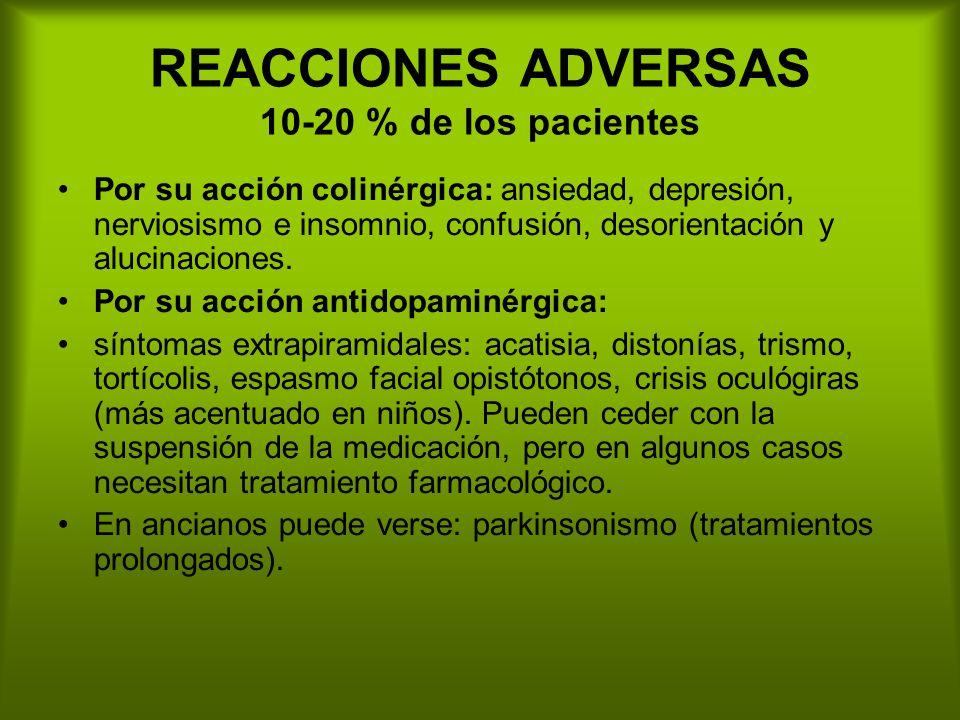 REACCIONES ADVERSAS 10-20 % de los pacientes Por su acción colinérgica: ansiedad, depresión, nerviosismo e insomnio, confusión, desorientación y alucinaciones.