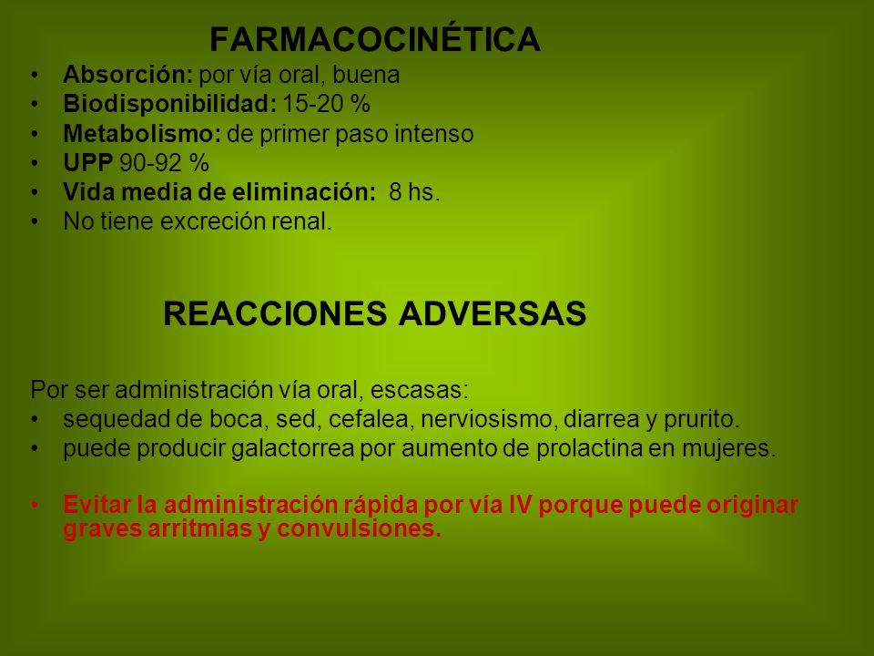 FARMACOCINÉTICA Absorción: por vía oral, buena Biodisponibilidad: 15-20 % Metabolismo: de primer paso intenso UPP 90-92 % Vida media de eliminación: 8 hs.