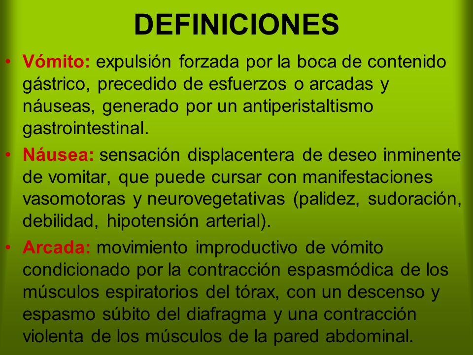 DEFINICIONES Vómito: expulsión forzada por la boca de contenido gástrico, precedido de esfuerzos o arcadas y náuseas, generado por un antiperistaltismo gastrointestinal.