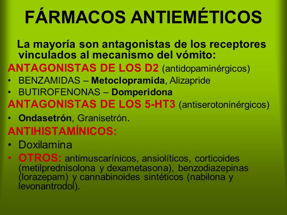 FÁRMACOS ANTIEMÉTICOS La mayoría son antagonistas de los receptores vinculados al mecanismo del vómito: ANTAGONISTAS DE LOS D2 (antidopaminérgicos) BENZAMIDAS – Metoclopramida, Alizapride BUTIROFENONAS – Domperidona ANTAGONISTAS DE LOS 5-HT3 (antiserotoninérgicos) Ondasetrón, Granisetrón.
