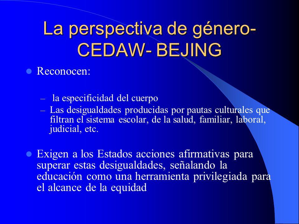 La perspectiva de género- CEDAW- BEJING Reconocen: – la especificidad del cuerpo – Las desigualdades producidas por pautas culturales que filtran el s