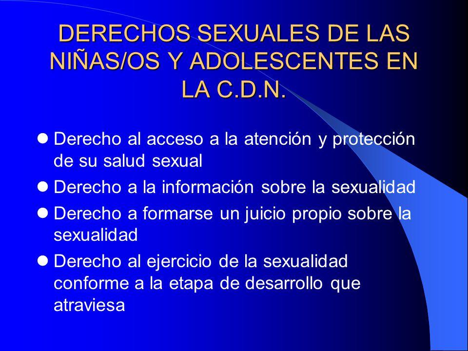 DERECHOS SEXUALES DE LAS NIÑAS/OS Y ADOLESCENTES EN LA C.D.N. Derecho al acceso a la atención y protección de su salud sexual Derecho a la información