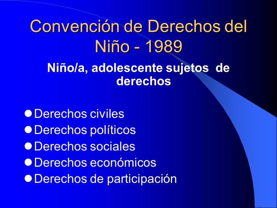 Convención de Derechos del Niño - 1989 Niño/a, adolescente sujetos de derechos Derechos civiles Derechos políticos Derechos sociales Derechos económic