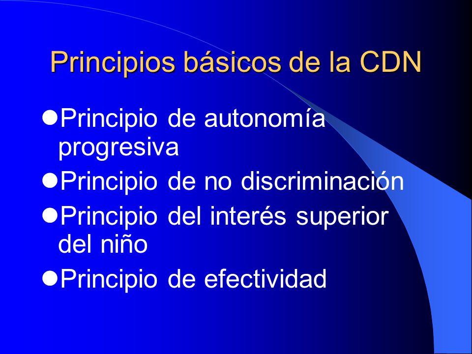 Principios básicos de la CDN Principio de autonomía progresiva Principio de no discriminación Principio del interés superior del niño Principio de efe