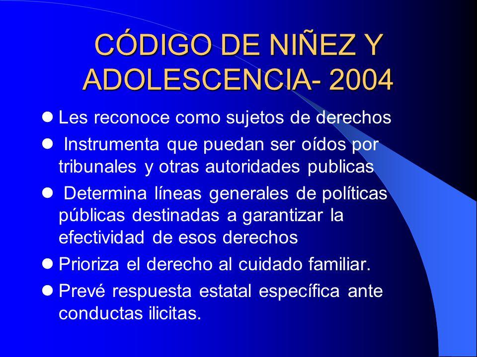 CÓDIGO DE NIÑEZ Y ADOLESCENCIA- 2004 Les reconoce como sujetos de derechos Instrumenta que puedan ser oídos por tribunales y otras autoridades publica