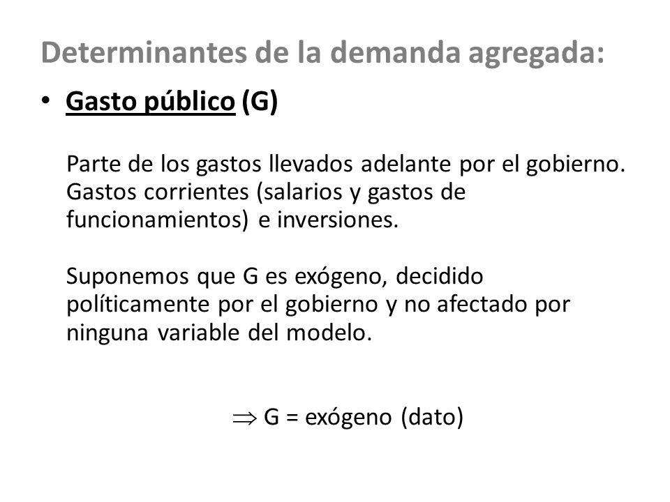 Determinantes de la demanda agregada: Gasto público (G) Parte de los gastos llevados adelante por el gobierno. Gastos corrientes (salarios y gastos de