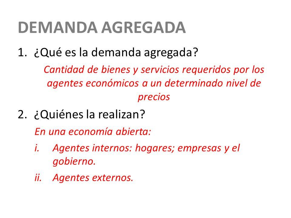 DEMANDA AGREGADA 1.¿Qué es la demanda agregada? Cantidad de bienes y servicios requeridos por los agentes económicos a un determinado nivel de precios