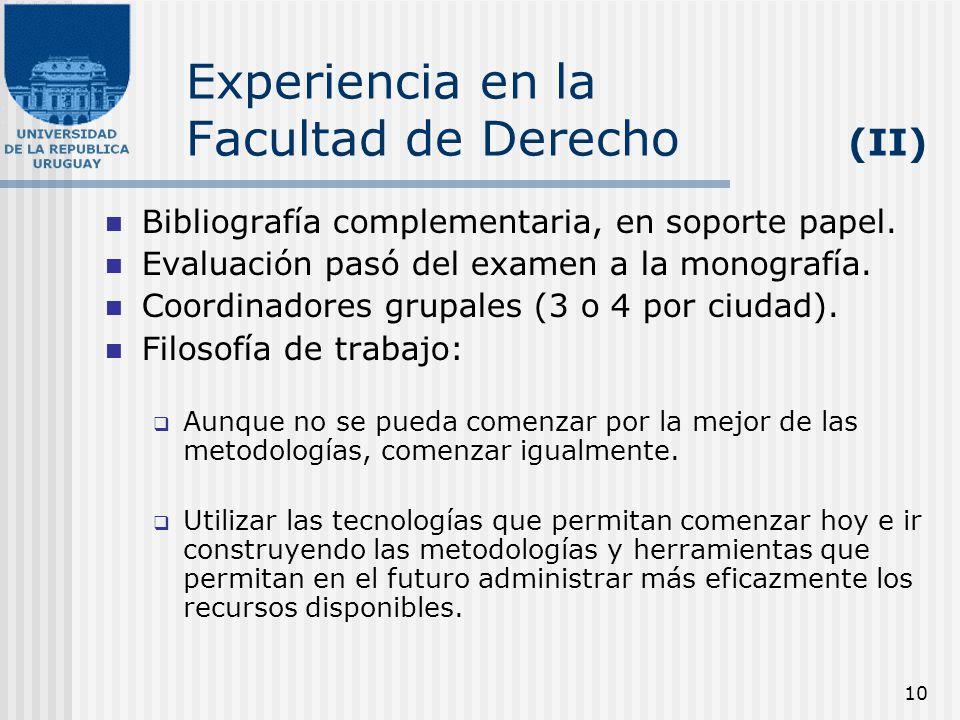 10 Experiencia en la Facultad de Derecho (II) Bibliografía complementaria, en soporte papel. Evaluación pasó del examen a la monografía. Coordinadores