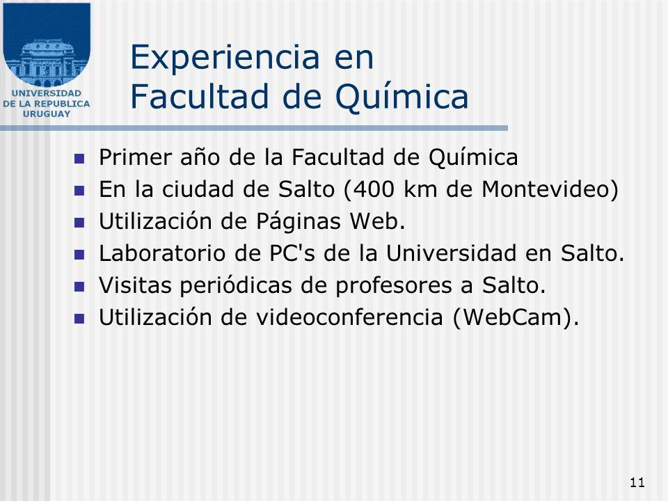 11 Experiencia en Facultad de Química Primer año de la Facultad de Química En la ciudad de Salto (400 km de Montevideo) Utilización de Páginas Web. La