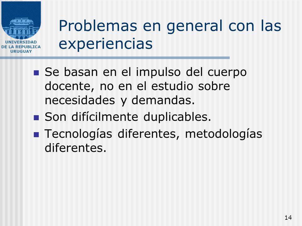 14 Problemas en general con las experiencias Se basan en el impulso del cuerpo docente, no en el estudio sobre necesidades y demandas. Son difícilment