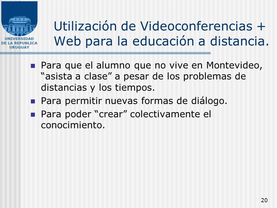 20 Utilización de Videoconferencias + Web para la educación a distancia. Para que el alumno que no vive en Montevideo, asista a clase a pesar de los p