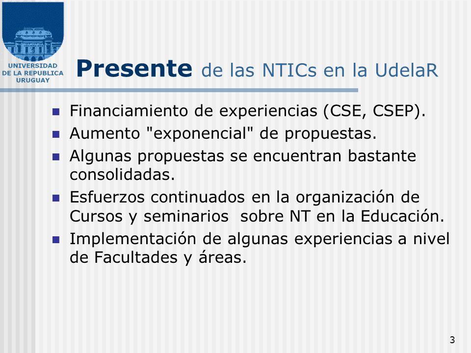 3 Presente de las NTICs en la UdelaR Financiamiento de experiencias (CSE, CSEP). Aumento