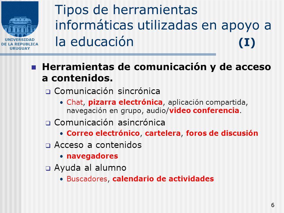 6 Tipos de herramientas informáticas utilizadas en apoyo a la educación (I) Herramientas de comunicación y de acceso a contenidos. Comunicación sincró