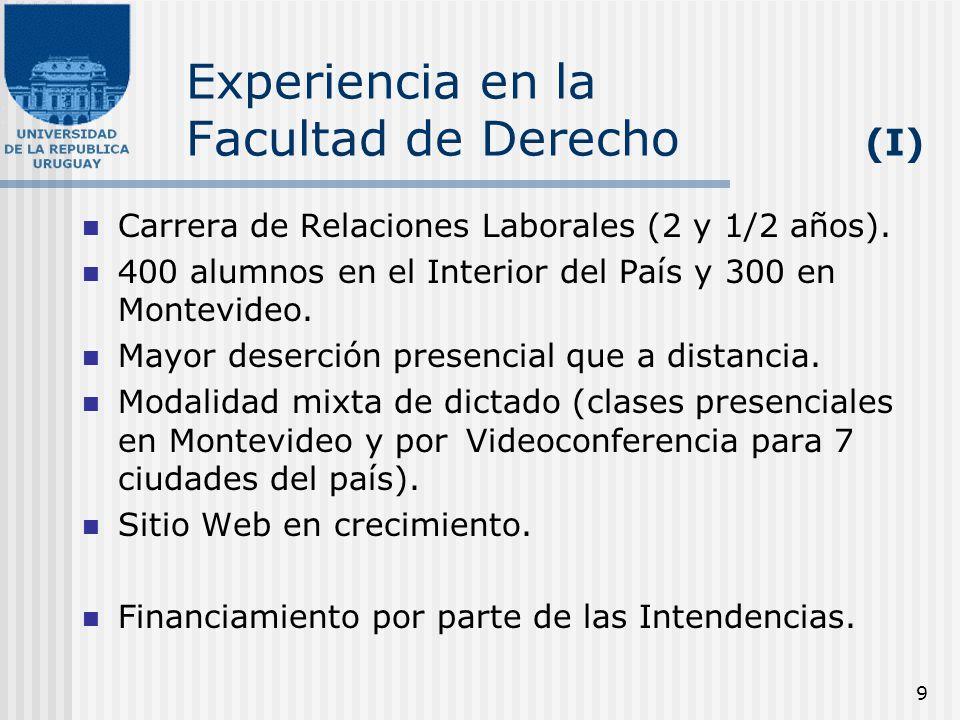 9 Experiencia en la Facultad de Derecho (I) Carrera de Relaciones Laborales (2 y 1/2 años). 400 alumnos en el Interior del País y 300 en Montevideo. M