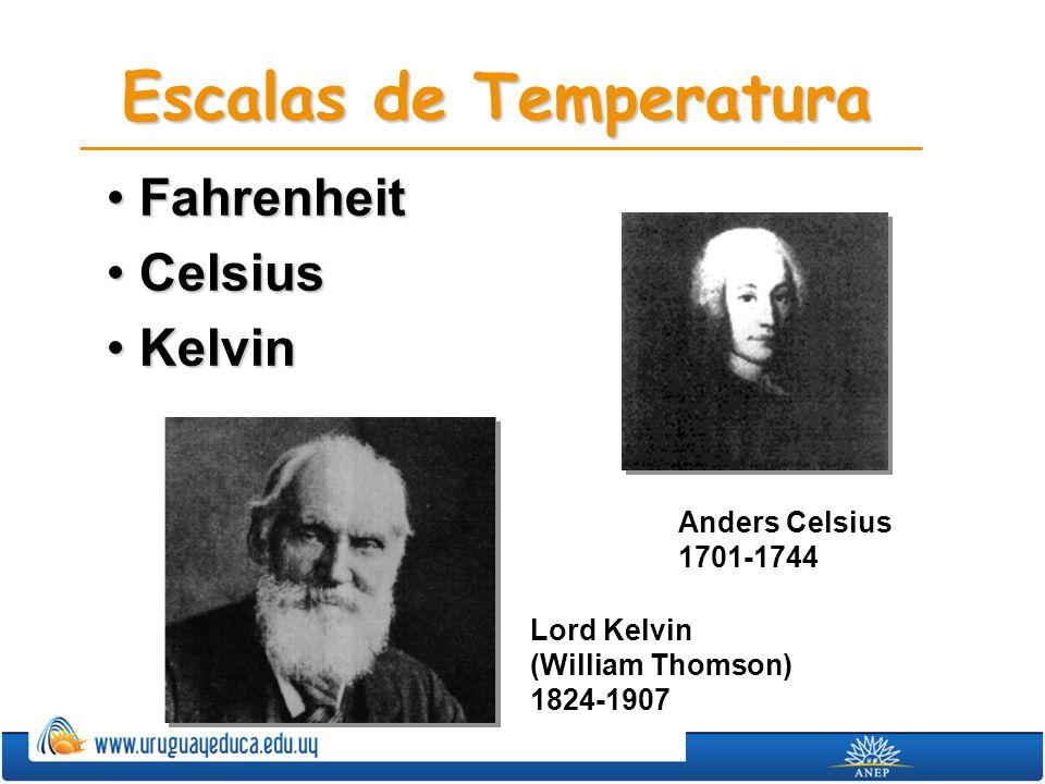 Escalas de Temperatura FahrenheitFahrenheit CelsiusCelsius KelvinKelvin Anders Celsius 1701-1744 Lord Kelvin (William Thomson) 1824-1907