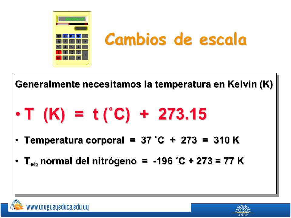 Cambios de escala Generalmente necesitamos la temperatura en Kelvin (K) T (K) = t (˚C) + 273.15T (K) = t (˚C) + 273.15 Temperatura corporal = 37 ˚C +