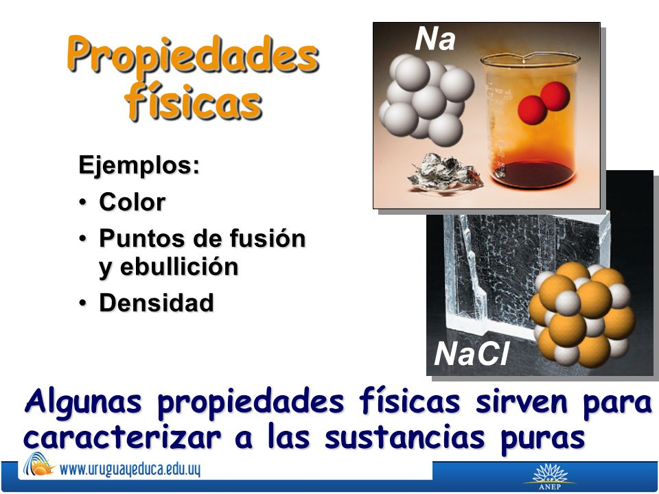 Propiedades físicas Ejemplos: ColorColor Puntos de fusión y ebulliciónPuntos de fusión y ebullición DensidadDensidad Algunas propiedades físicas sirve