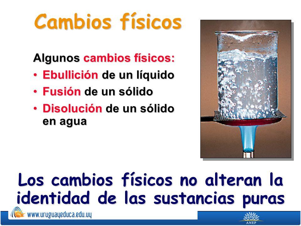 Cambios físicos Algunos cambios físicos: Ebullición de un líquidoEbullición de un líquido Fusión de un sólidoFusión de un sólido Disolución de un sóli