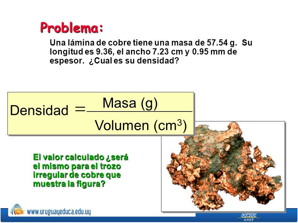 Problema: Una lámina de cobre tiene una masa de 57.54 g. Su longitud es 9.36, el ancho 7.23 cm y 0.95 mm de espesor. ¿Cual es su densidad? Densidad Ma