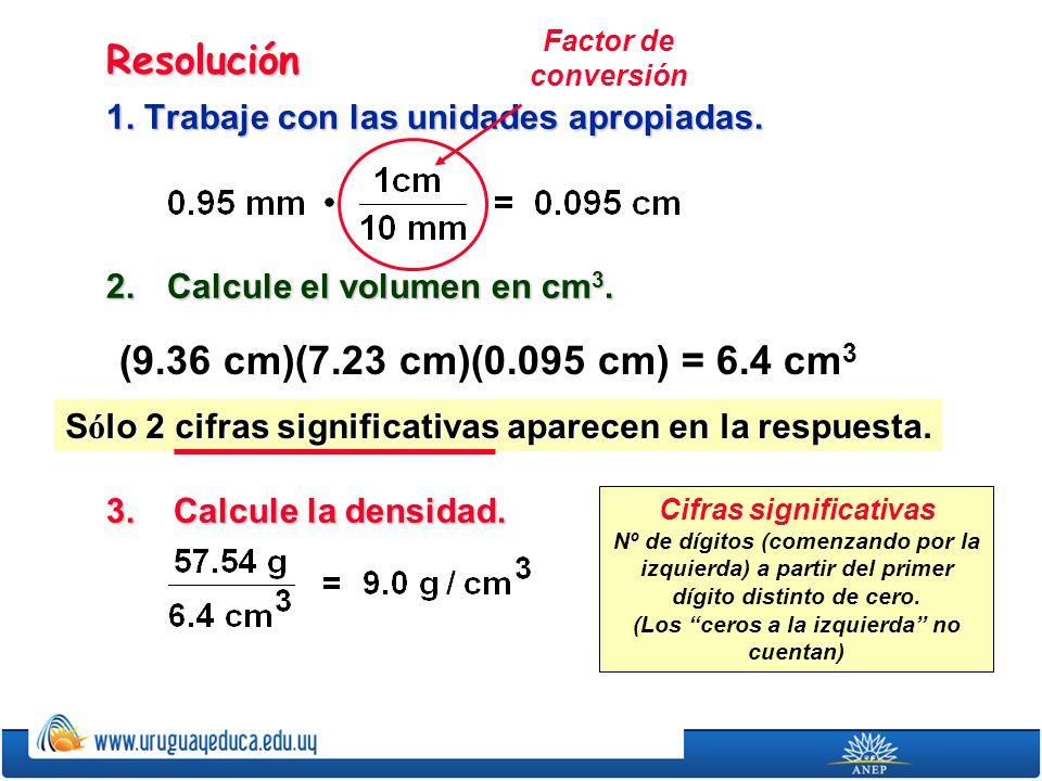 Resolución 1. Trabaje con las unidades apropiadas. 2. Calcule el volumen en cm 3. 3. Calcule la densidad. (9.36 cm)(7.23 cm)(0.095 cm) = 6.4 cm 3 S ó
