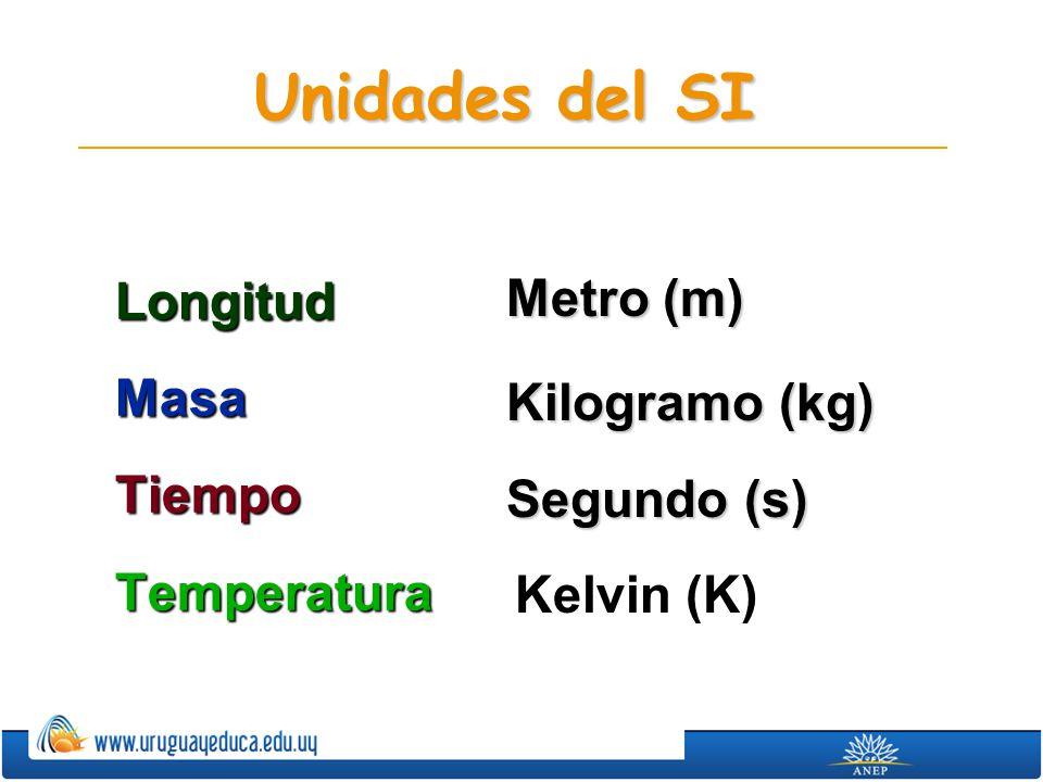 Unidades del SI LongitudMasaTiempoTemperatura Metro (m) Kilogramo (kg) Segundo (s) Kelvin (K)