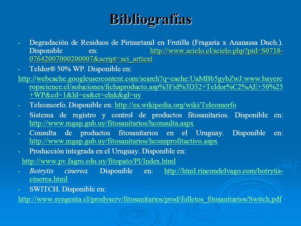 - http://www.scielo.cl/scielo.php?pid=S0718- 07642007000200007&script=sci_arttext - Degradación de Residuos de Pirimetanil en Frutilla (Fragaria x Ananassa Duch.).