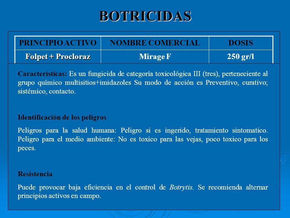 BOTRICIDAS PRINCIPIO ACTIVONOMBRE COMERCIALDOSIS Boscalid + Pyrasclostrobin (*)Bellis1,2-1,5 Kg/ha Ciprodinil + FludioxinilSwitch 62,5 WG80 gr PyremethanylMythos250-300 cc Folpet + ProclorazMirage F250 gr (*) Se autoriza una aplicación por cultivo.