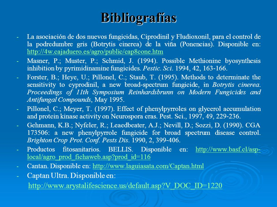 Bibliografías - - La asociación de dos nuevos fungicidas, Ciprodinil y Fludioxonil, para el control de la podredumbre gris (Botrytis cinerea) de la vi
