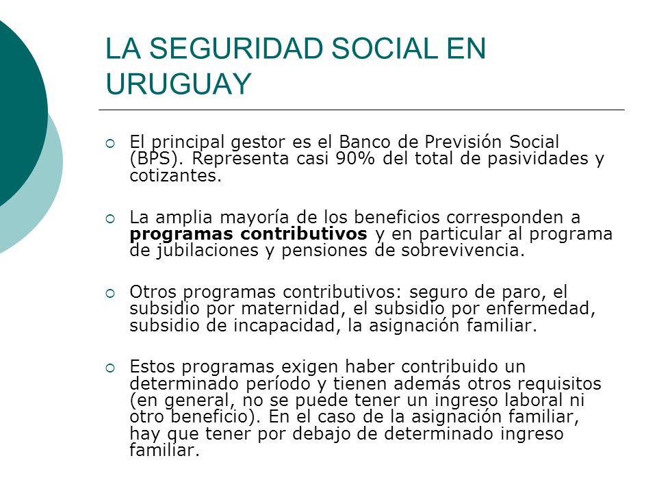 LA SEGURIDAD SOCIAL EN URUGUAY El principal gestor es el Banco de Previsión Social (BPS). Representa casi 90% del total de pasividades y cotizantes. L